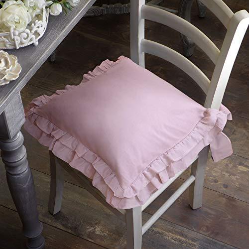 AT17 Cuscino per Sedia Shabby Chic Doppio Volant Sucre Collection 40 x 40 Colore Rosa