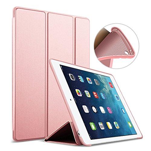 Nuevo iPad 2018/2017 9.7 Funda, GOOJODOQ Ligero Smart Case Cover con Magnetic Auto Sleep/Wake Función Piel Sintética a Prueba de Golpes Suave Silicona TPU Funda para iPad 2018/2017 9.7 Oro Rosa