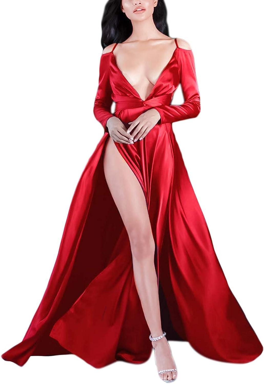 Cold Shoulder Deep V Neck Long Sleeve Split Satin Wedding Prom Women Maxi Dress