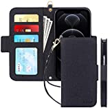 Skycase Compatible for iPhone 12 Case/Compatible for iPhone 12 Pro Case 5G,[RFID Blocking]Handmade Flip Folio Wallet Case with Card Slots and Detachable Hand Strap for iPhone 12/12 Pro 6.1' 2020,Black