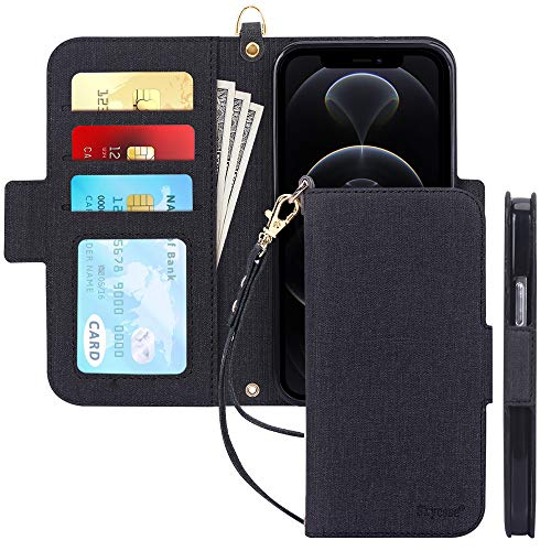 "Skycase Compatible for iPhone 12 Case/Compatible for iPhone 12 Pro Case 5G,[RFID Blocking]Handmade Flip Folio Wallet Case with Card Slots and Detachable Hand Strap for iPhone 12/12 Pro 6.1"" 2020,Black"