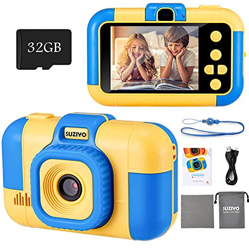 SUZIYO Kids Camera, Digital Video Camcorder Dual Lens 1080P 2.4 Inch HD,Best Birthday Electronic Toys Gifts for Toddlers Age 3-10 Years Old Boys Grils Children (with 32G Micro SD Card,Blue)