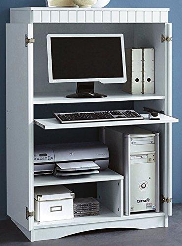 PC Schrank Büroschrank Computerschrank Weiss MDF (447)