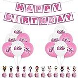 Party Balloons YUESEN lol Birthday Party Supplies 25PCS Decoración fiesta cumpleaños Chica sorpresa Globos Banner Cake Topper Decorations para niño Decoraciones fiesta
