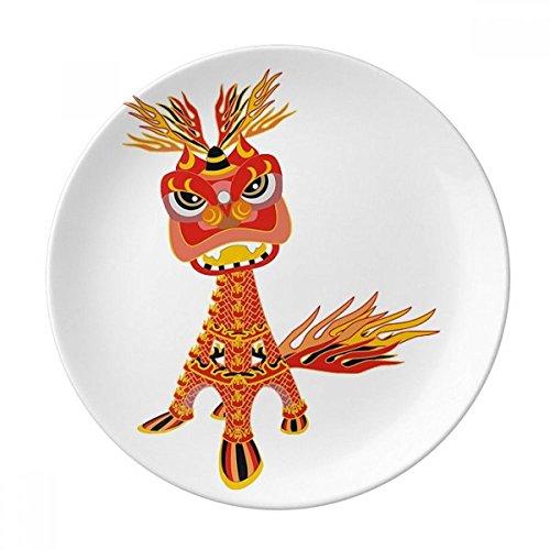 DIYthinker Chine France Tour Eiffel Lion décoratif en Porcelaine Assiette à Dessert 8 Pouces Dîner Accueil Cadeau 21cm diamètre Multicolor