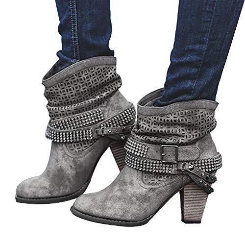 Sfit Damen Kurzschaft Stiefel High Heels Hohl Spitze mit Blockabsatz Herbst Boots Party Abendschuhe Retro Leder Stiefeletten Bequeme Rutschfester