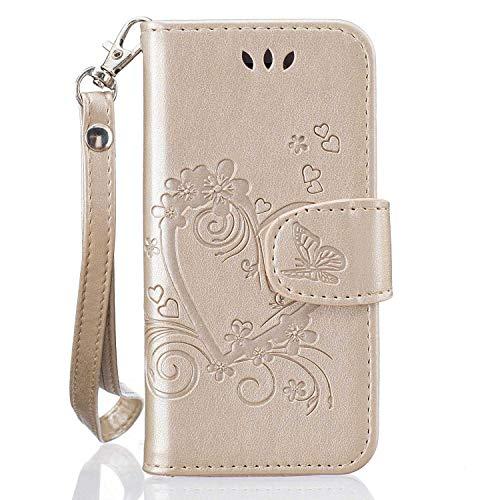iPhone SE/iPhone 5 5s Hülle, Bear Village® PU Leder Flip Tasche, Schutzhülle mit Ständer Funktion und Card Holder, Handyhülle für Apple iPhone SE/iPhone 5 5s, Gold