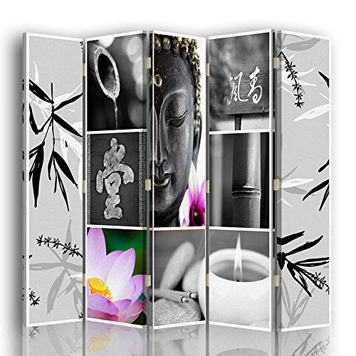 F FEEBY WALL DECOR Foto Biombo Buda 5 Paneles Unilateral Zen Gris 180x175 cm