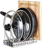 Soporte para sartenes Organizador de sartenes para ahorrar espacio Organizador de cocina de acero inoxidable Soporte para tabla de cortar Bandeja con bandeja de drenaje para armario,-S