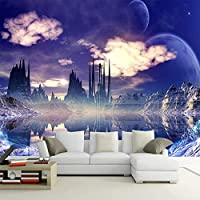 AMTTGOYY 空の壁の壁画の絵画の城リビングルームの写真の背景の壁紙3D壁の壁画の壁紙家の装飾-250x175cm