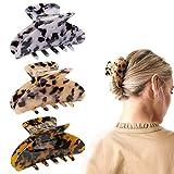 3 Piezas Pinzas para el Cabello, Clips de Pelo de Garra de Celuloide de 8.5CM, Pinza de Carey, Pinzas para el Cabello con Estampado de Leopardo de Diseño Francés, Accesorios de Moda para Mujeres