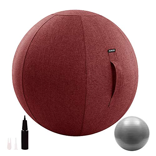 Guken Sitting Ball Chair with Cover, Exercise Yoga Ball for Office and Home Muscle Training Fitness, Stability Ball with Pump and Handle (Wine, 65cm)