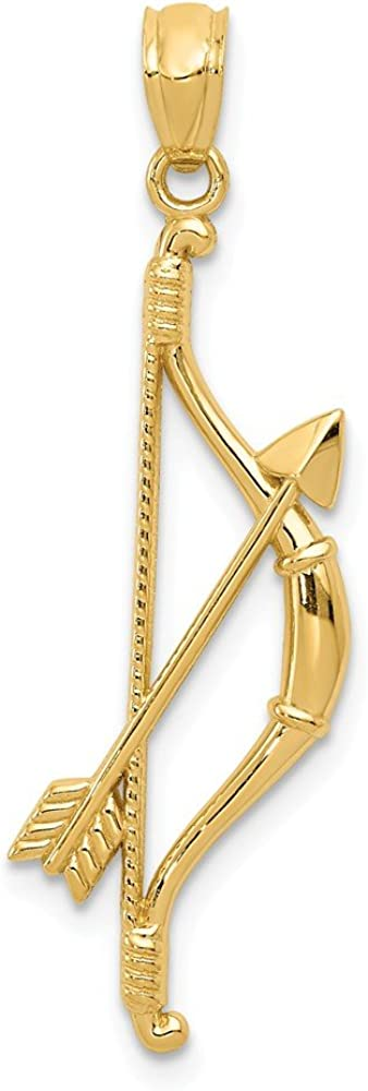 Black Bow Jewelry 14k Yellow Gold Bow and Arrow Pendant, 11 x 36mm