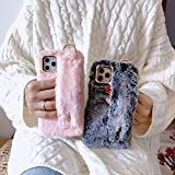 Xcrescent Compatible with iPhone 12 Pro Max Case Artificial Plush Keep Your Hands Warm?Fashion Wrist Strap Band Protector Phone Cover Full-Body Bumper-6.7 Inch. (Gray,iPhone 12 Mini)