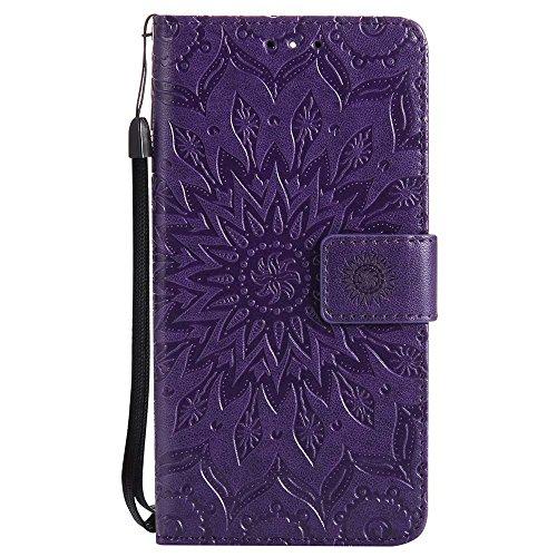 Nokia 5 Hülle, Dfly Premium Slim PU Leder Mandala Blume Prägung Muster Flip Hülle Bookstyle Stand Slot Schutzhülle Tasche Wallet Case für Nokia 5, Lila