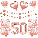 50er Cumpleaños Globos, Decoración de Cumpleaños 50 en Oro Rosa, Cumpleaños 50 Año, Feliz Cumpleaños Decoración Globos 50 Años, Decoracion Cumpleaños para Niñas y Mujeres