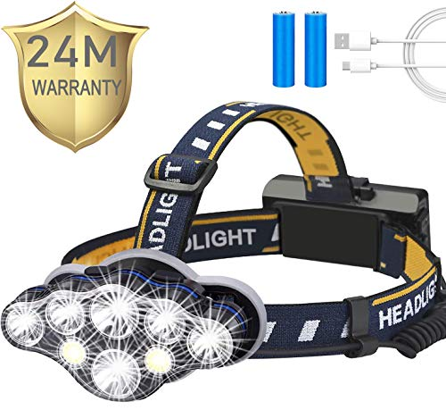 Rechargeable Headlamp,Tupwaid Led Head Lamp Waterproof 18000 Lumen Brightest 8 LED USB Headlight Flashlight with Red Lights, Extreme Bright Headlamps with 8 Modes for Outdoor Camping Cycling Fishing