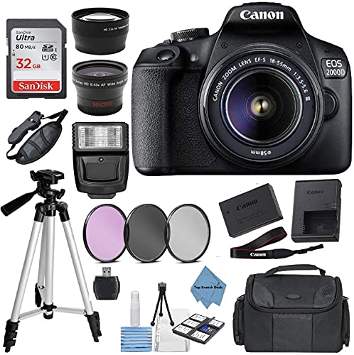 Canon EOS 2000D Rebel T7 Kit with EF-S 18-55mm f/3.5-5.6 III Lens + Accessory Bundle +TopKnotch Deals Cloth