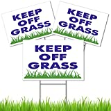 3 Pack Keep Off Grass Sign 8x12 - Plastic Coroplast Yard Stay Off Grass Sign with Stakes - Dont Walk On Grass Sign - Please Stay Off Lawn Sign - Stay Off The Grass Sign With Stake - Do Not Step Signs
