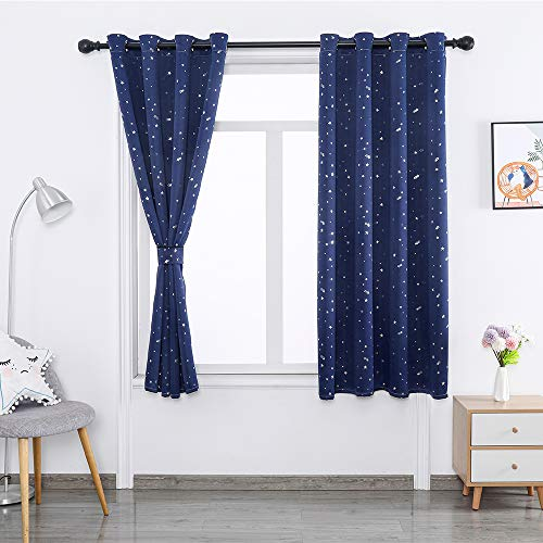 DDSGG Room Darkened Heat Insulation Shading Grommet Curtain, Grommet Blackout Curtains, Bedroom Full Blackout Curtain Panel, Suitable for Bedroom,W52xL96inch/ 132243CM