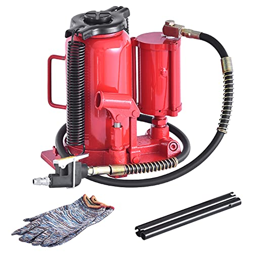 Pneumatic Air Hydraulic Bottle Jack 20 Ton Heavy Duty Bottle Jack with Manual Hand Pump for Auto Truck Repair Lift (Red)