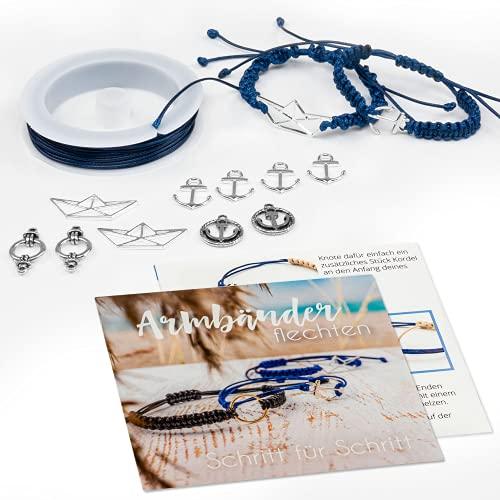 Vintageparts Maritime Armbänder selber Machen - DIY Schmuck-Set Mathilda - Bastel-Set für Freundschaftsarmbänder - Geschenk für Hochzeit & Geburtstag