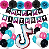 TIK Tok Birthday Party Decorations Kit,TIK Tok Party Supplies, Included Happy Birthday Banner, Foil Balloons,Latex Balloons and Paper Tissue pom poms for Boys Girls, TIK Tok Theme Party, Music Party