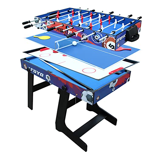 IFOYO 48 in / 4 ft Multi-Function 4 in 1 Steady Combo Game Table, Hockey Table, Soccer Foosball Table, Pool Table, Table Tennis Table, Red Blue