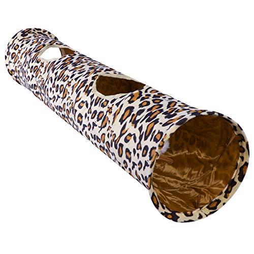 POPETPOP Katzenspielzeug Katzentunnel Zusammenklappbar Spielzeug Hundenspielzeug Spieltunnel Faltbarer Leopard Rascheltunnel für Kaninchen Hasen Klein Katze Hunde und Kleintiere Haustier