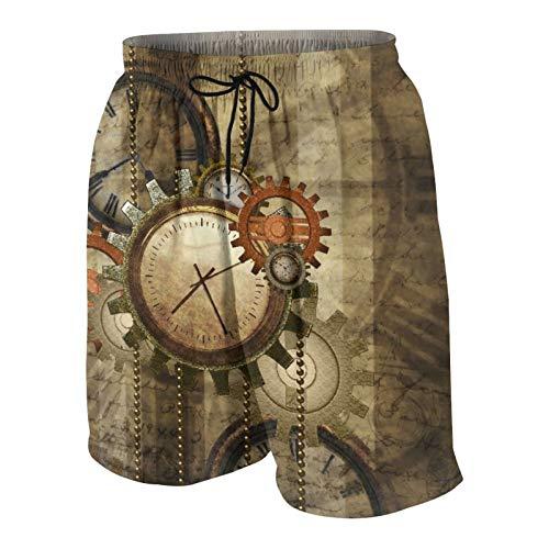 SUHOM De Los Hombres Casual Pantalones Cortos,Engranajes y Relojes Steampunk Abstractos Hipster,Secado Rápido Traje de Baño Playa Ropa de Deporte con Forro de Malla