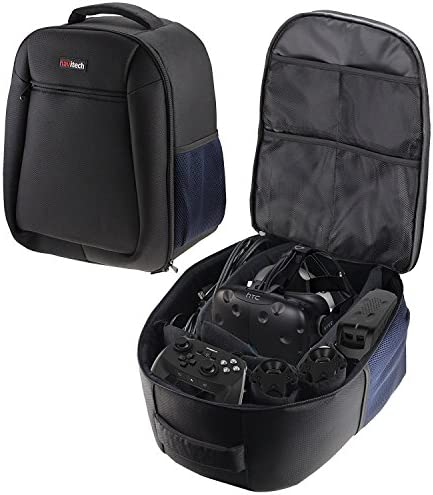 Navitech Rugged Black Blue Backpack Rucksack Case Cover Compatible with The Oculus Rift DK2 product image