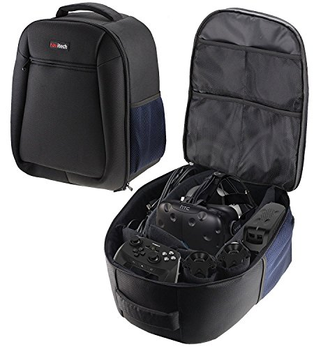 Navitech Rugged Black & Blue Backpack/Rucksack/Case/Cover Compatible with The ONN White Virtual Reality VR