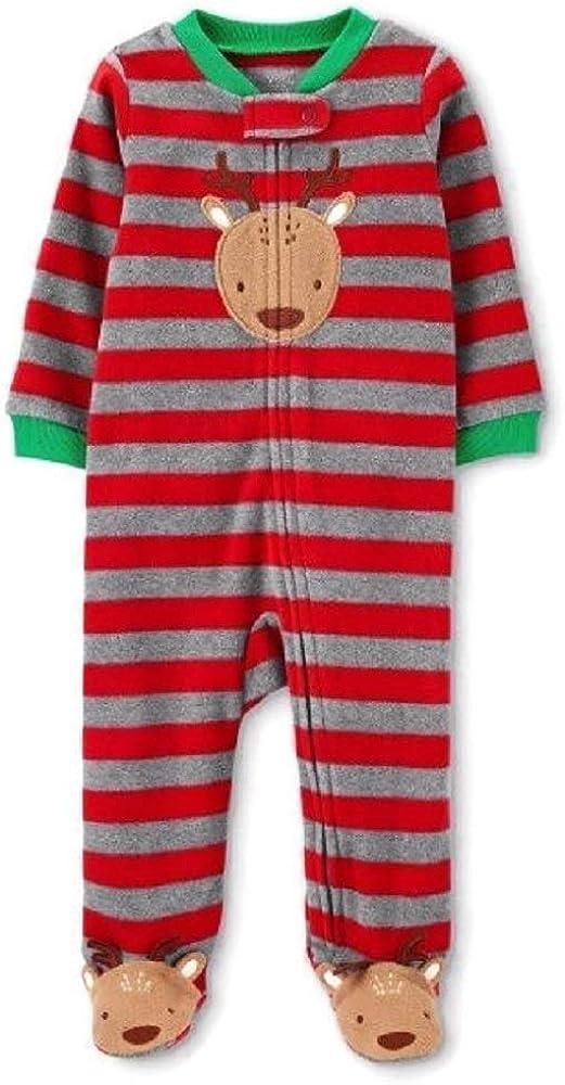 Just One You Baby Boys' Reindeer Striped Fleece Sleep 'N Play Red (Newborn)