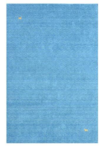 Morgenland Gabbeh Teppich ASTERIA Blau Einfarbig Tiere Schurwolle Handgewebt 140 x 70 cm