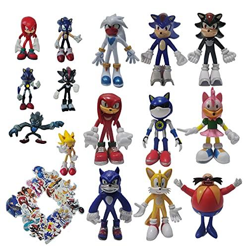 Traje de Sonic Un conjunto de nueve figuras grandes + un conjunto de seis figuras pequeñas japoneses hombre Sonic Boy Supersonic Mouse
