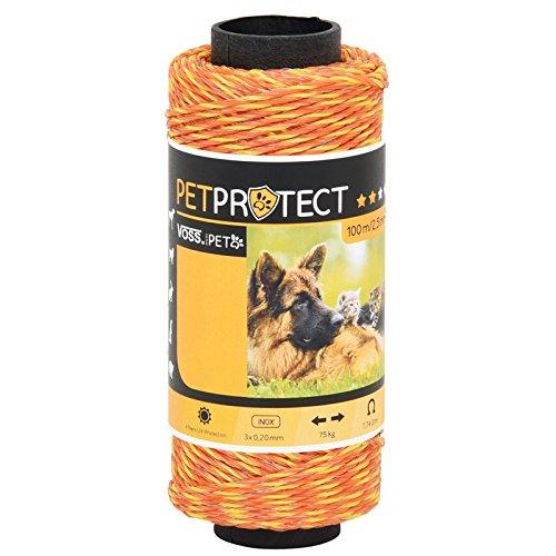 Fil électro-Plastique - MiniPet - Orange - 100m - Acier INOX 3x0,20 - Fil pour clôtures électriques sûres en Milieu privé - pour Chiens, Chats, et Beaucoup d'autres Encore.