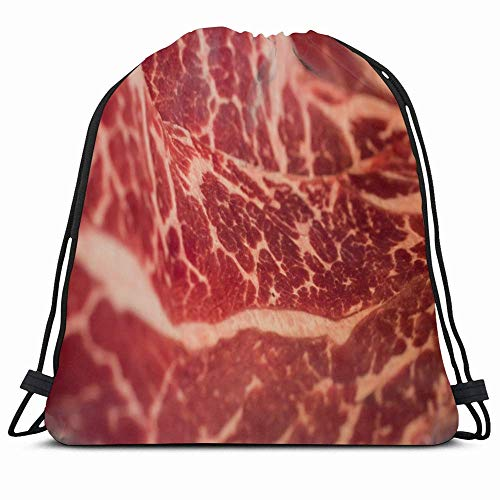 KAKALINQ Drawstring Backpack String Bag Red Meat Marbling Japanese Beef Nutrition Raw Food Drink Fat...