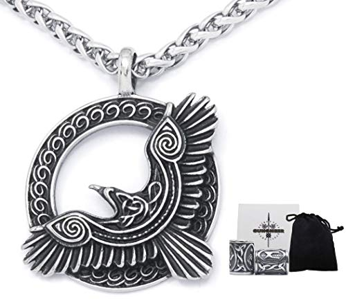GUNGNEER Viking Raven Celtic Knot Pendant Stainless Steel Keel Chain Necklace Wheel of Life Accessory for Mens Womens