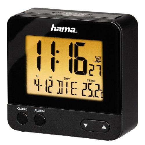 Hama Funk-Wecker Digital RC540 (Reisewecker mit Licht, Funkuhr inkl. Batterien) schwarz