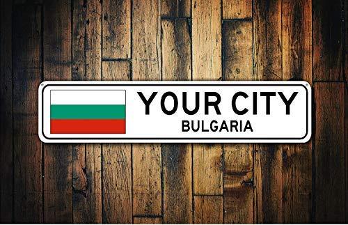 qidushop Bulgarische Fahne Schild Bulgarien Souvenir Bulgarien Geschenk Land Souvenir Metall Stadt Schild Stadt Souvenir Deko Metallschilder für Frauen Wand Post Blechschild Geschenk