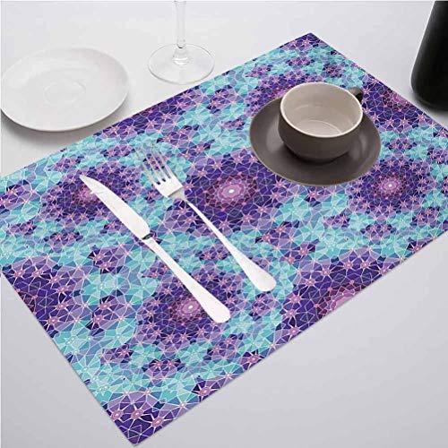 FloraGrantnan Placemats Kitchen Dining Table Decorative, Purple Geometric Mosaic Fractal Sign of Univers, Suitable for Home Kitchen Decoration, Set of 4
