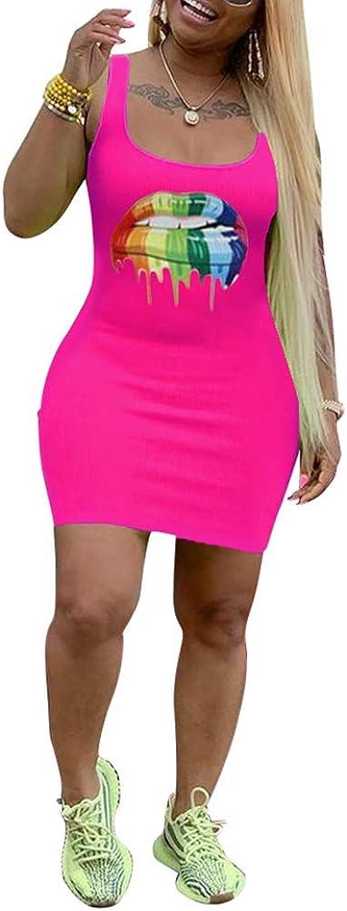 Akk Womens Sexy Lip Printed Sleeveless Tank T Shirt Slim Fit Bodycon Pencil Midi Dress