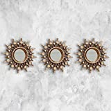 <span class='highlight'><span class='highlight'>HomeZone</span></span>® Set of 3 Distressed Bronze Effect Metallic Vintage Mirrors | Lightweight Wall Mountable Round Gold Steel Aztec Sunburst Mirror Set | 3pc Medieval Home Decor Mirror Set (Bronzed Gold)