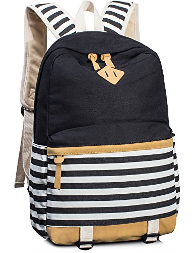 Leaper Navy Style School Laptop Backpack Girls Striped Canvas Bookbag Black