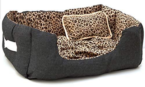 EYEPOWER Katzenbett Hundebett 50x45x18 cm Katzenkissen Hundekissen Waschbar Tierkissen Tierbett Innenkissen Gepard