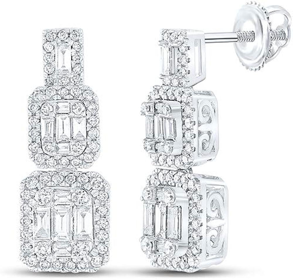 Max 45% OFF 14kt White Gold Womens Baguette Diamond Dangle 3 Ct Earrings 1-1 Super sale