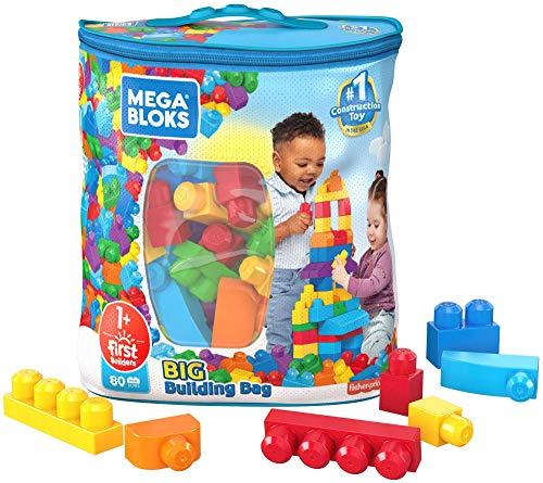 Mega-Big Building Bag bloks Sacca Ecologica, 80 Pezzi, Blocchi da Costruzione, Giocattolo per Bambini 1+ Anni, Colore Blu, DCH63