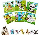 Felly Juguetes Niños 2 3 4 5 Años, Puzzles de Madera Educativos para Bebé, Juguete Montessori Puzzles Infantiles 6 Piezas Animales del Bosque, Rompecabezas Madera, Regalo de cumpleaños, Navidad