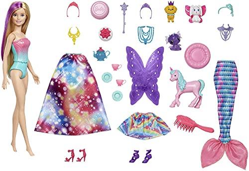 Barbie Calendario dell'Avvento Dreamtopia, bambola Barbie bionda, 3 completi da favola per la bambola,10 accessori e 10 oggetti per creare storie,tra cui 3 cuccioli,adatto per bambini dai 3 ai 7 anni
