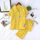XFLOWR Conjunto de Pijama Informal para Mujer, Conjunto de Pijama de algodón, Suave, Manga Corta, Ropa de Dormir con Pantalones, Solapa, Bonita Ropa Femenina para el hogar, M Amarillo